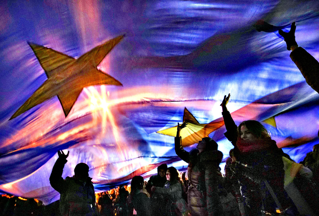 Students attend a rally to support EU integration in Kiev...Stud