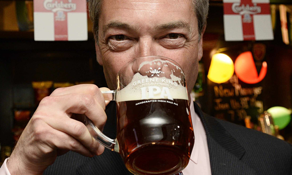 Nigel Farage has a pint at the Hoy and Helmet pub in South Benfleet