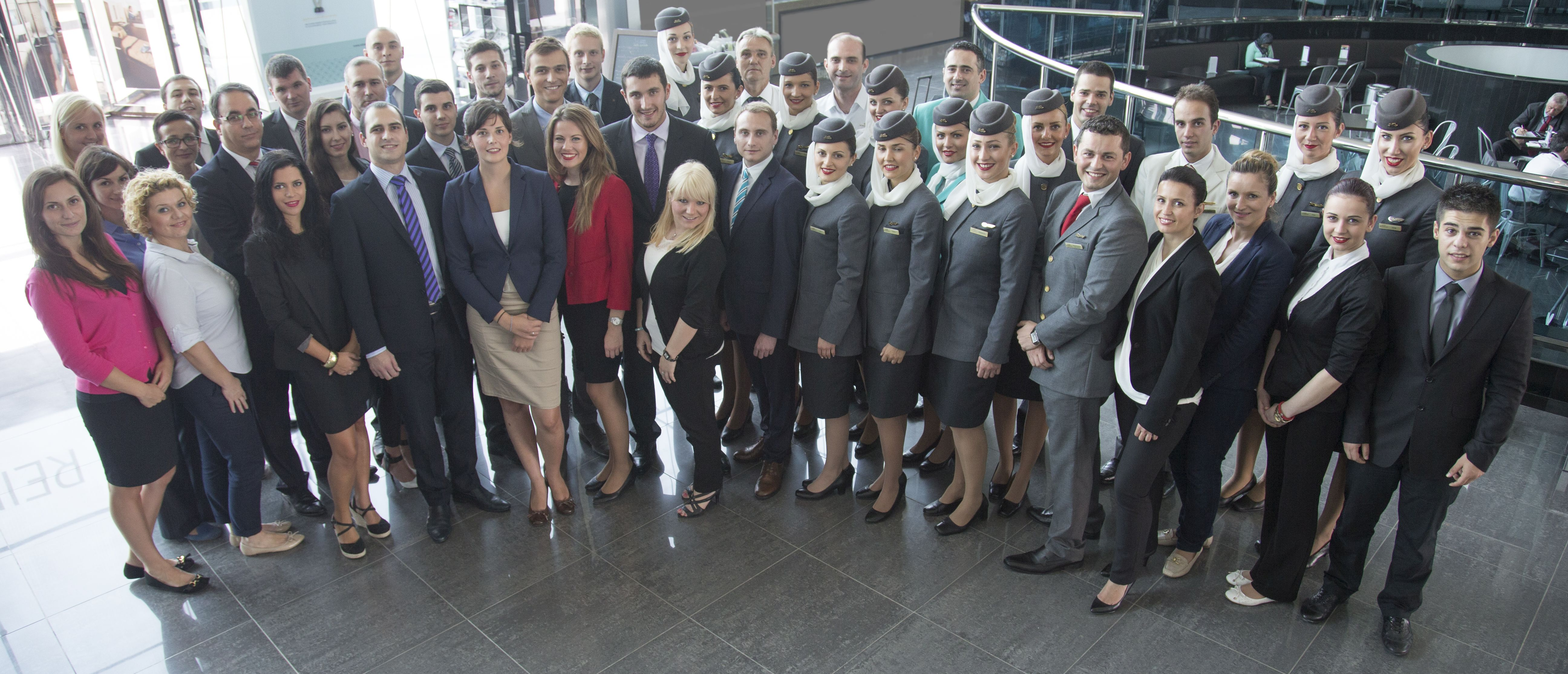 Some of the Serbian employees who work at Etihad Airways